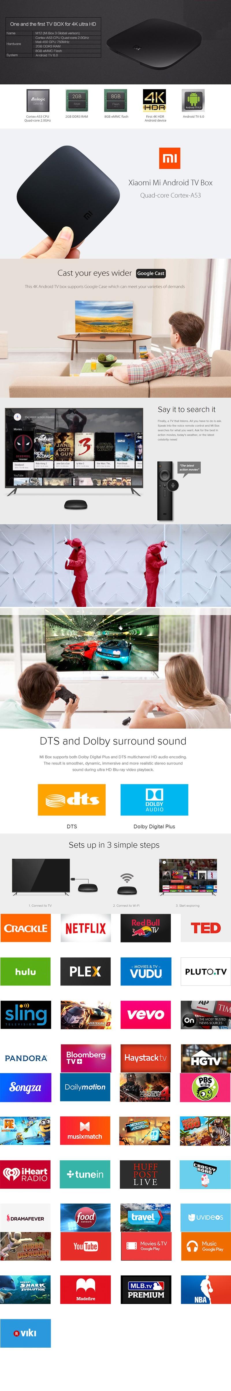 Xiaomi MI BOX Android 6.0 Smart 4K Mi TV Box HDR Google Cast