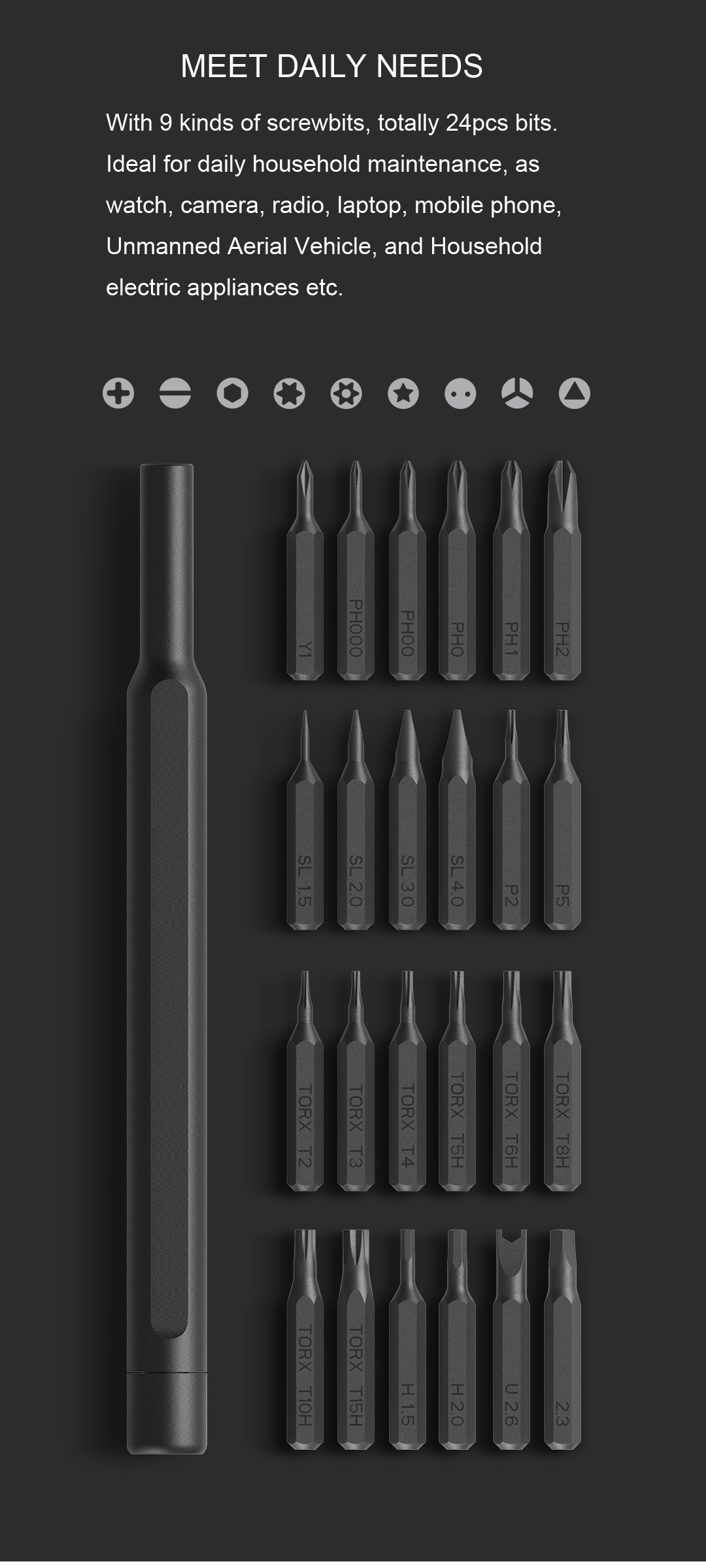 XIAOMI Mijia Wiha 24 in 1 Multi-purpose Precision Screwdriver Set Aluminium S2 Steel Repair Tools