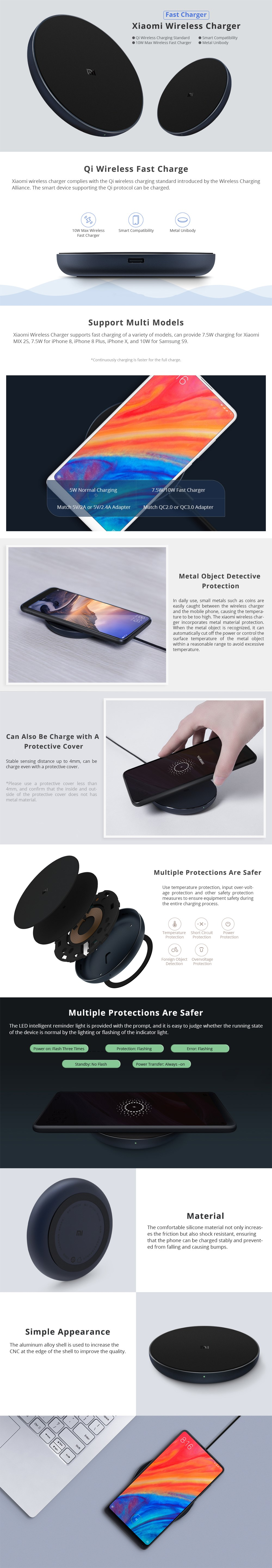 Xiaomi Qi Standard Wireless Fast Charger 10W for iPhone XS / XR / XS MAX Samsung Galaxy S7 S8 S9