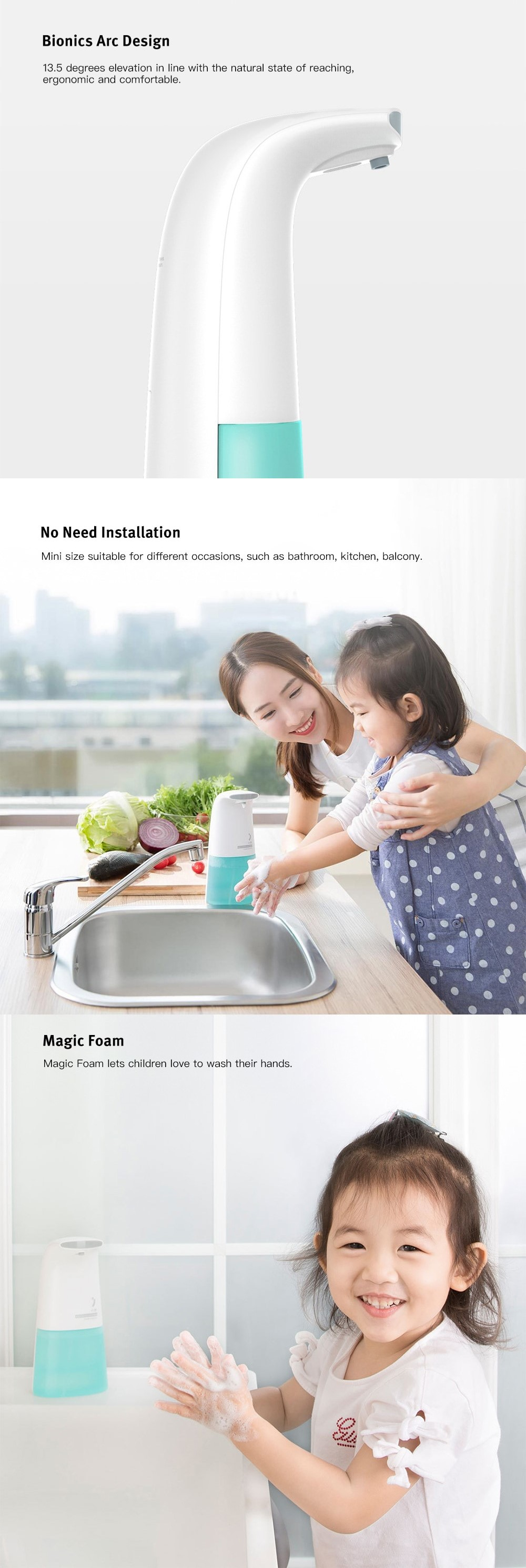 Xiaomi Xiaoji Automatic Foaming Hand Washer Touch-less Soap Dispenser - WHITE