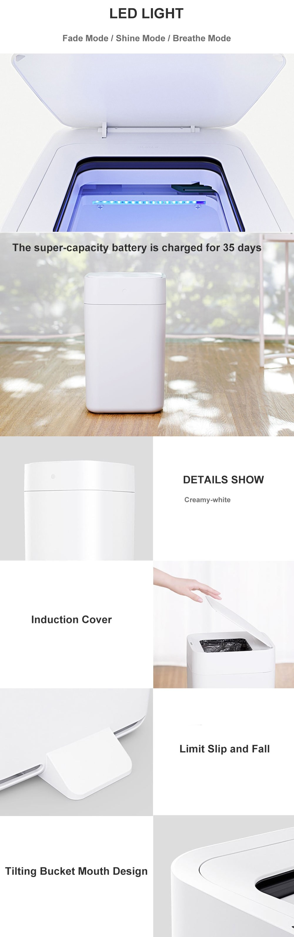 Xiaomi Townew Smart Automatic Motion Sensor to Open and Pack Rubbish Trash Bin