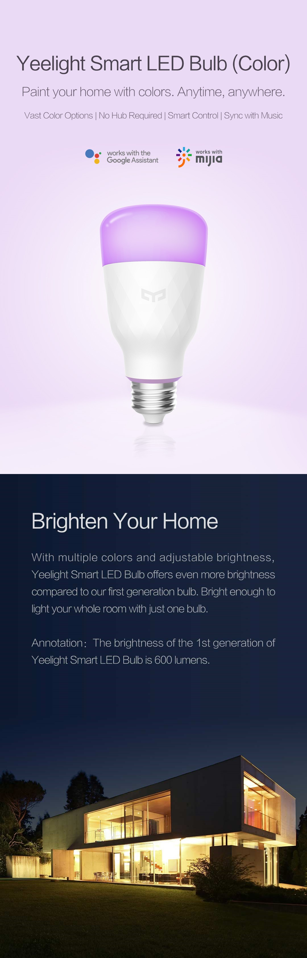Xiaomi Yeelight YLDP06YL Smart LED Bulb (Color) Upgraded Version