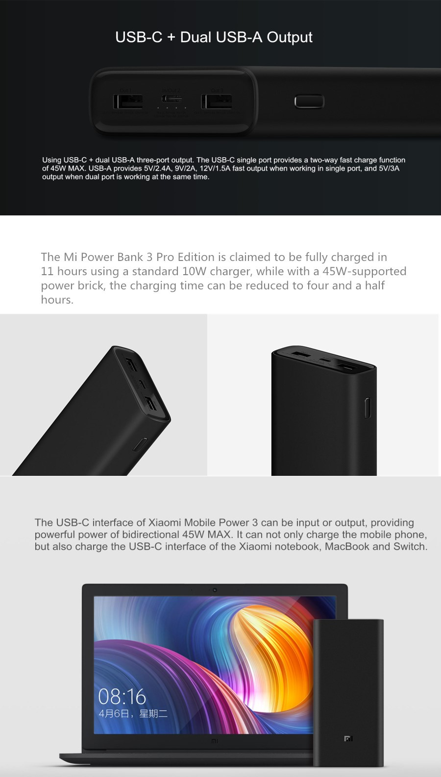 Xiaomi Power Bank 3 Pro 20000mAh USB-C Two-way 45W QC3.0 Fast Charge Power Bank for Mobile Phone Laptop