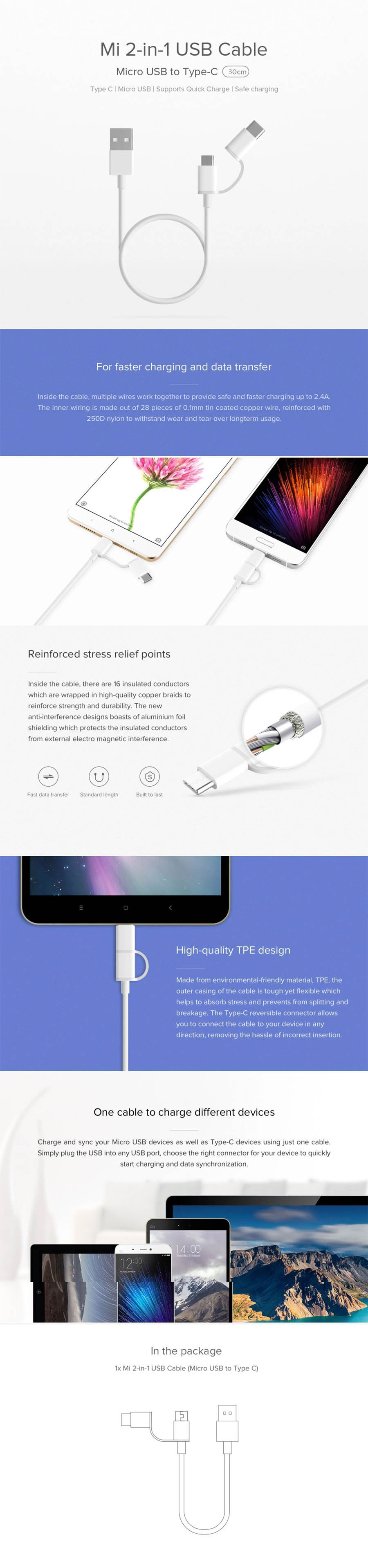 Mi 2-in-1 USB Cable 30CM (micro USB to Type-C)