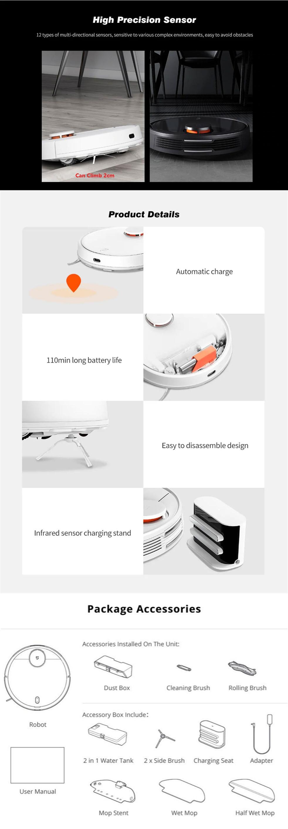 Xiaomi Mijia STYJ02YM 2 in 1 Sweeping Mopping Robot Vacuum Cleaner - Black