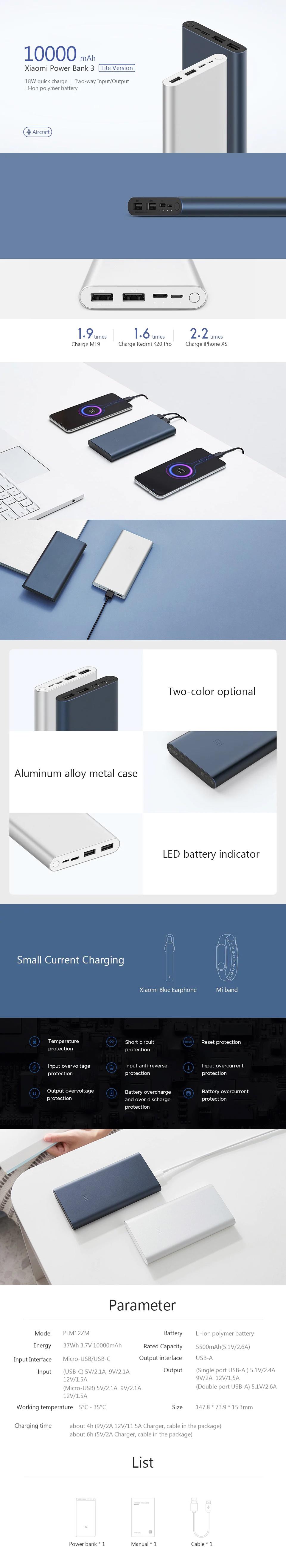 Xiaomi Mi Power Bank 3 10000mAh PLM13ZM Dual USB 18W Fast Charging