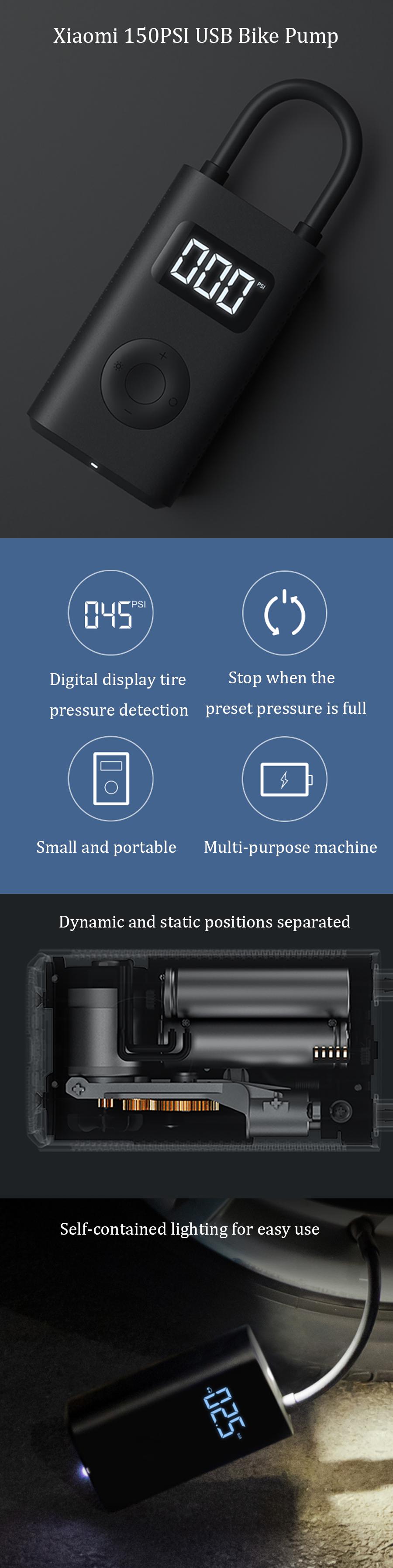 Xiaomi 5V 150PSI Portable Bike Pump USB Charging Electric Air Pump Camping Cycling