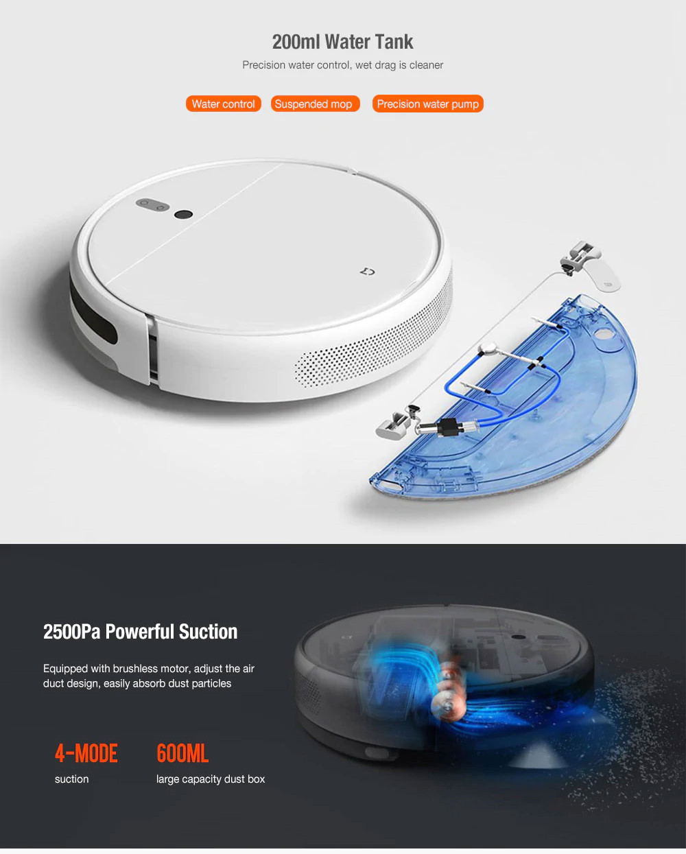 Xiaomi Mijia 1C 2 in 1 Smart Robot Vacuum Cleaner Mop Visual Brushless Motor 2500Pa