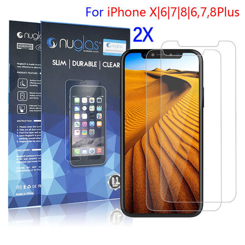 2x Nuglas Tempered Glass Screen Protector Guard For iPhone X 8 7 6 6S Plus
