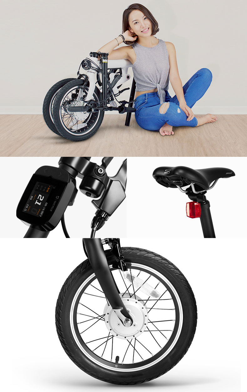 xiaomi qicycle electric bike folding assisted pedal bike. Black Bedroom Furniture Sets. Home Design Ideas
